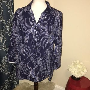 Tyler Boe Blue Floral Button Front 3/4 Sleeve Top